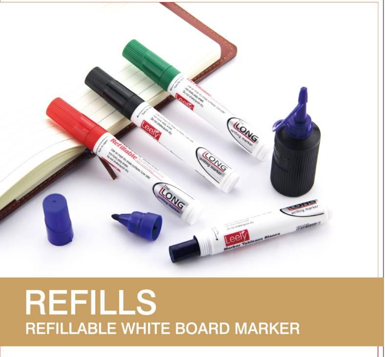 Refill ink bottle for refillable white board marker