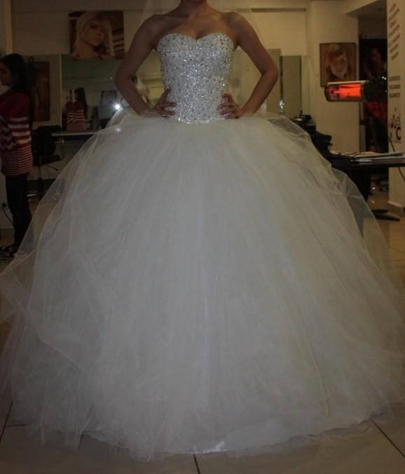 2014 Hot Sale Custom Made Ivory/White Satin Tulle Beading Diamond Wedding Dress Bridal Dress
