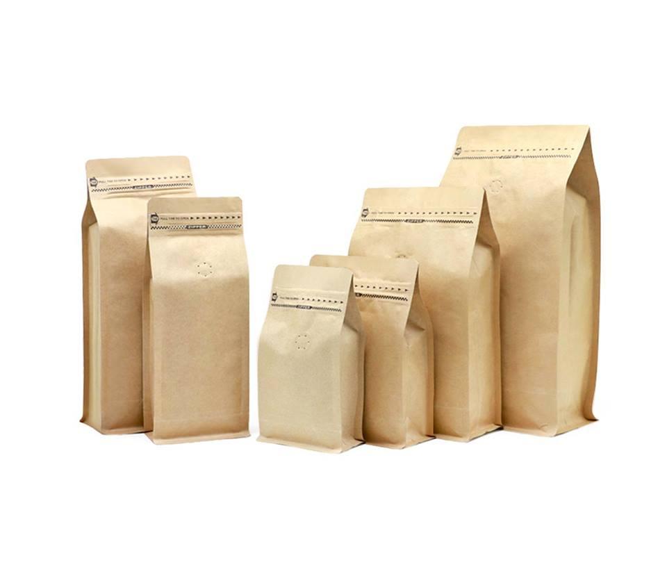 Flat bottom kraft paper coffee beans packaging bag(1/4lb 1/2lb 1lb 2lb)