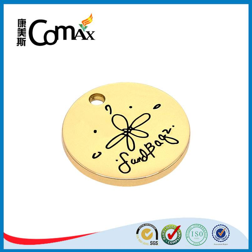engraved logo round gold cutom metal tag with 1 hole