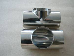 Mirror polished sanitary stainless steel tee