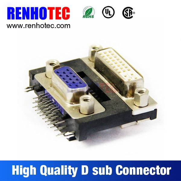 Alibaba China Supplier Solder VGA Dual in Line 90 Degree Female 15 Pin D-Sub Connector
