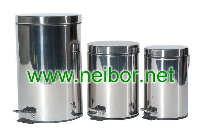 stainless steel pedal bin,step bin,trash bin,waste bin,litter bin