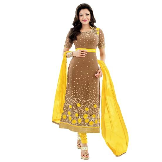 Shonaya WHITE  Colour Designer Embroidered Faux Georgette Semi Stiched Salwar Suit  MFEKN-62001
