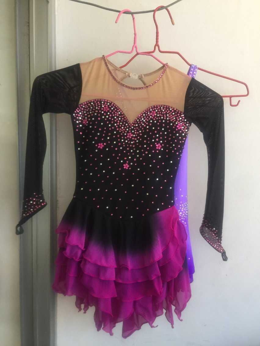 purple figure skating dresses women competition custom