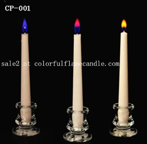 Colored flame candle with taper shape