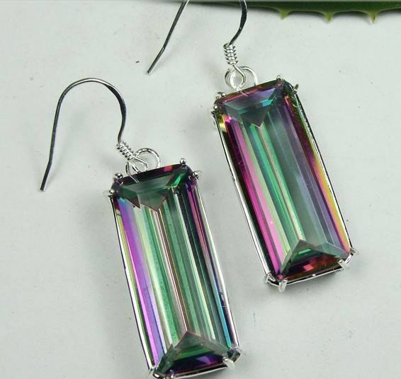 925 Sterling Silver white quartz Gemstone earrings