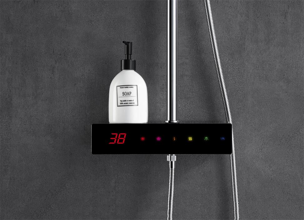 Full-touch screen thermostatic digital shower set