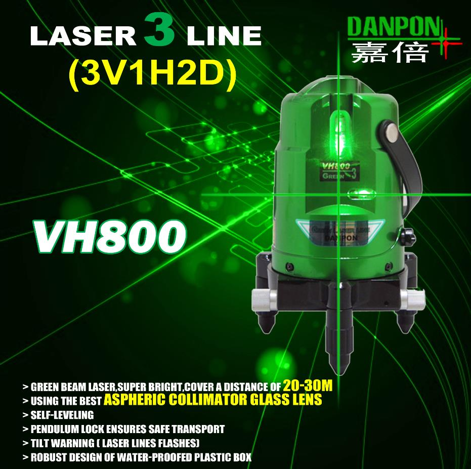 Danpon ultra bright self leveling green three lines laser level
