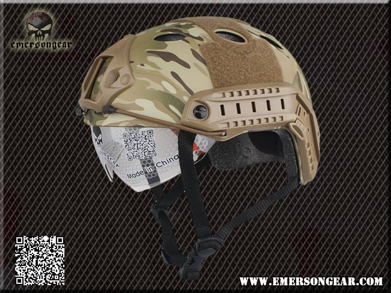 EMERSON FAST Tactical Helmet PJ TYPE helmet with goggles MC color