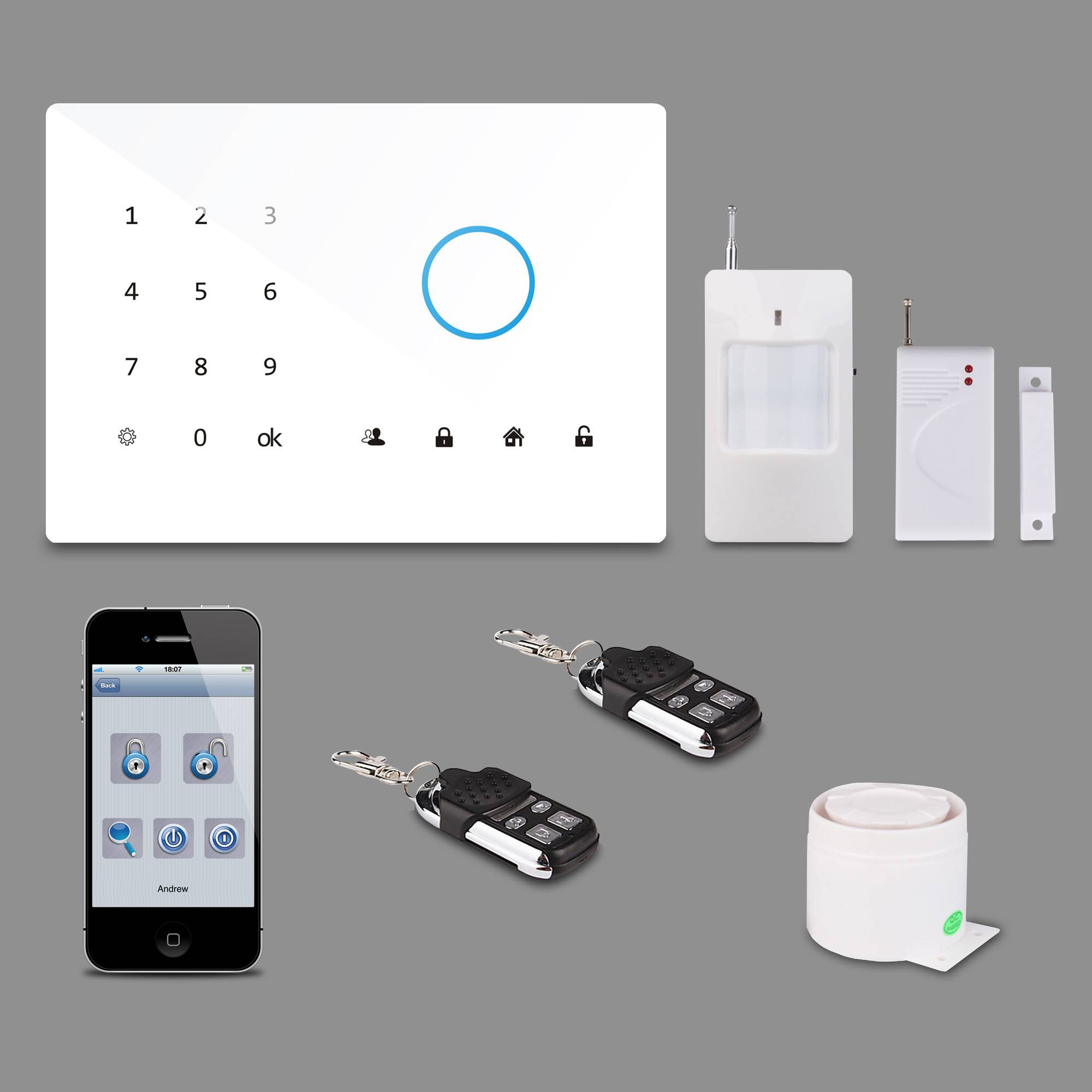 Patrol Hawk Alarm System & GSM Touch-pad Alarm System With Panic Button For Elderly and Children PH-