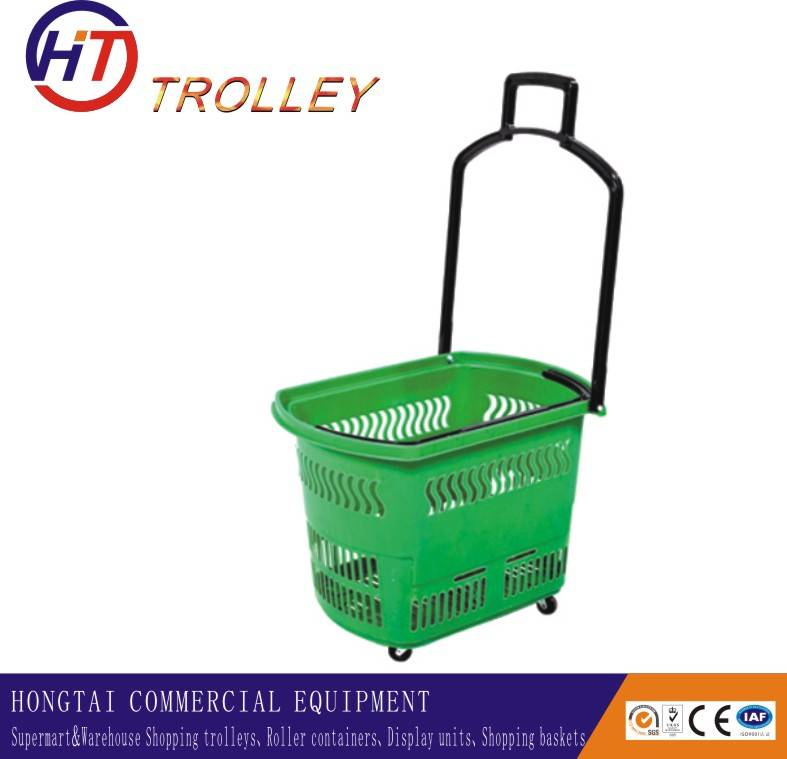 plastic grocery shopping baskets on wheels with draw bar  wholesale