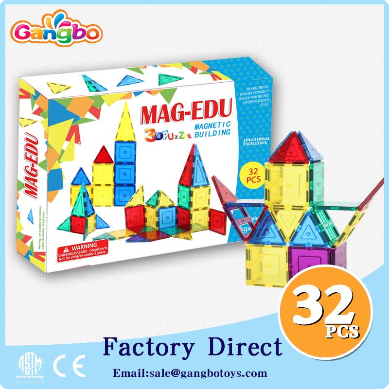 32 pcs Kids toy Magnetic Building Tiles 3d puzzle diy magnetic toys