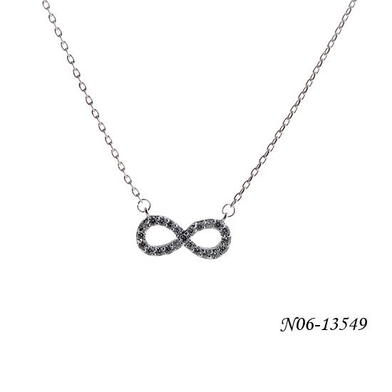 Thin pendant necklace with infinity shape decoration/made of glass/alloy/iron