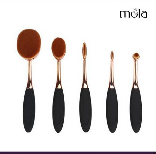 5pcs rose golden oval makeup brush set
