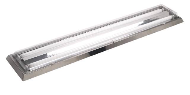 cleanroom light fixture with stainless steel frame