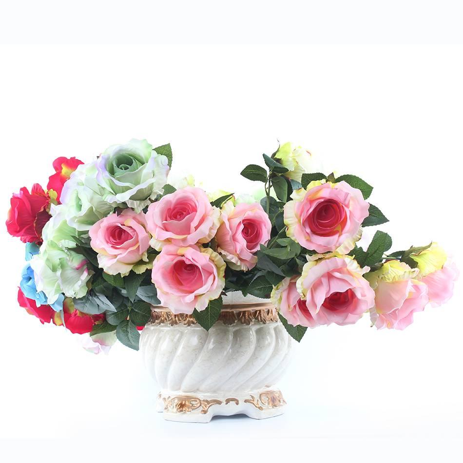 artificial silk flowers Big 5 heads rose flower