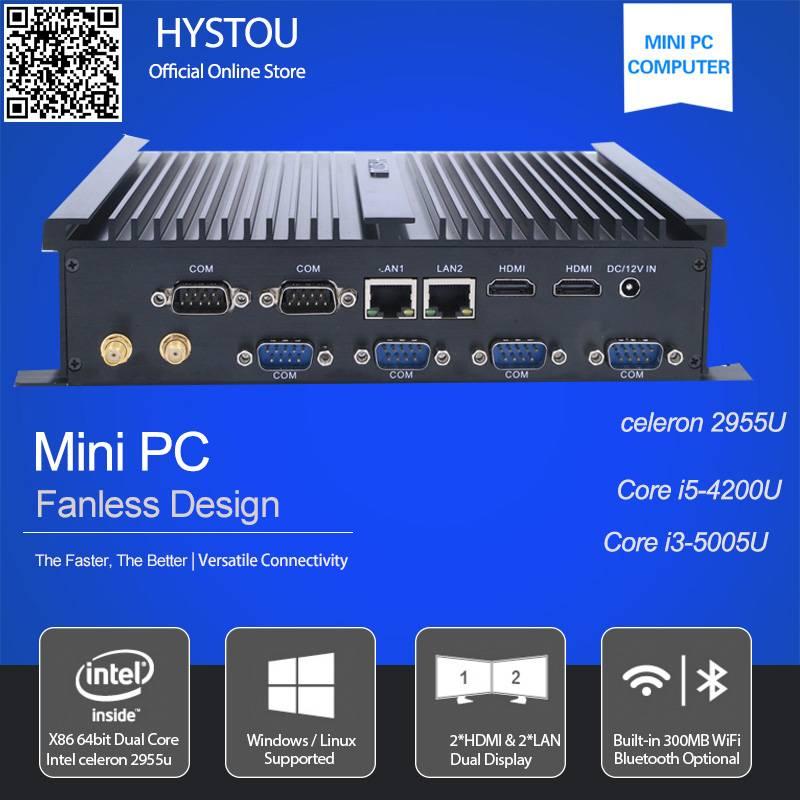 6*rs232 com ports industrial mini pc Intel celeron 2955u dual lan dual HDMI fanless desktop computer