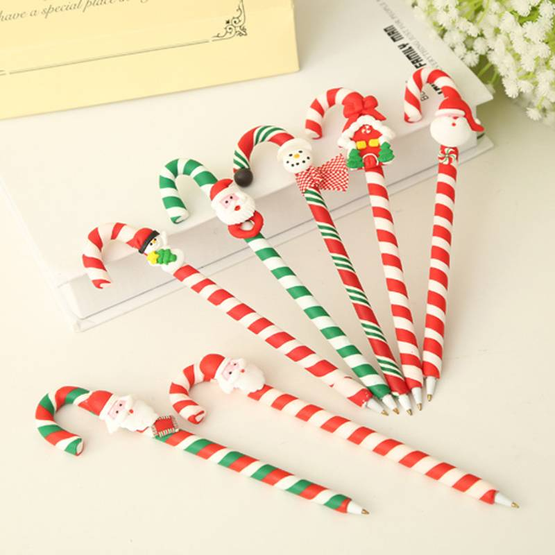 Polymer clay Christmas Candy Cane pen