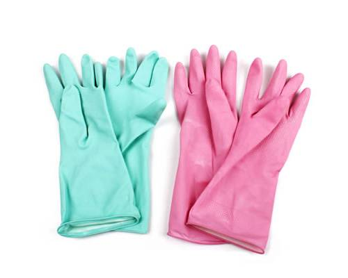 Dip Flock Yellow kitchen household rubber gloves,Latex Housheold Gloves