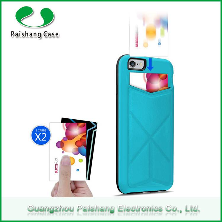 Multicolor TPU+PC+PU universal smart phone protector back case cover for Apple iPhone 6s with card s