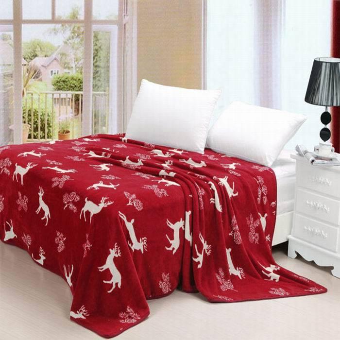 giraffe printed coral fleece blanket