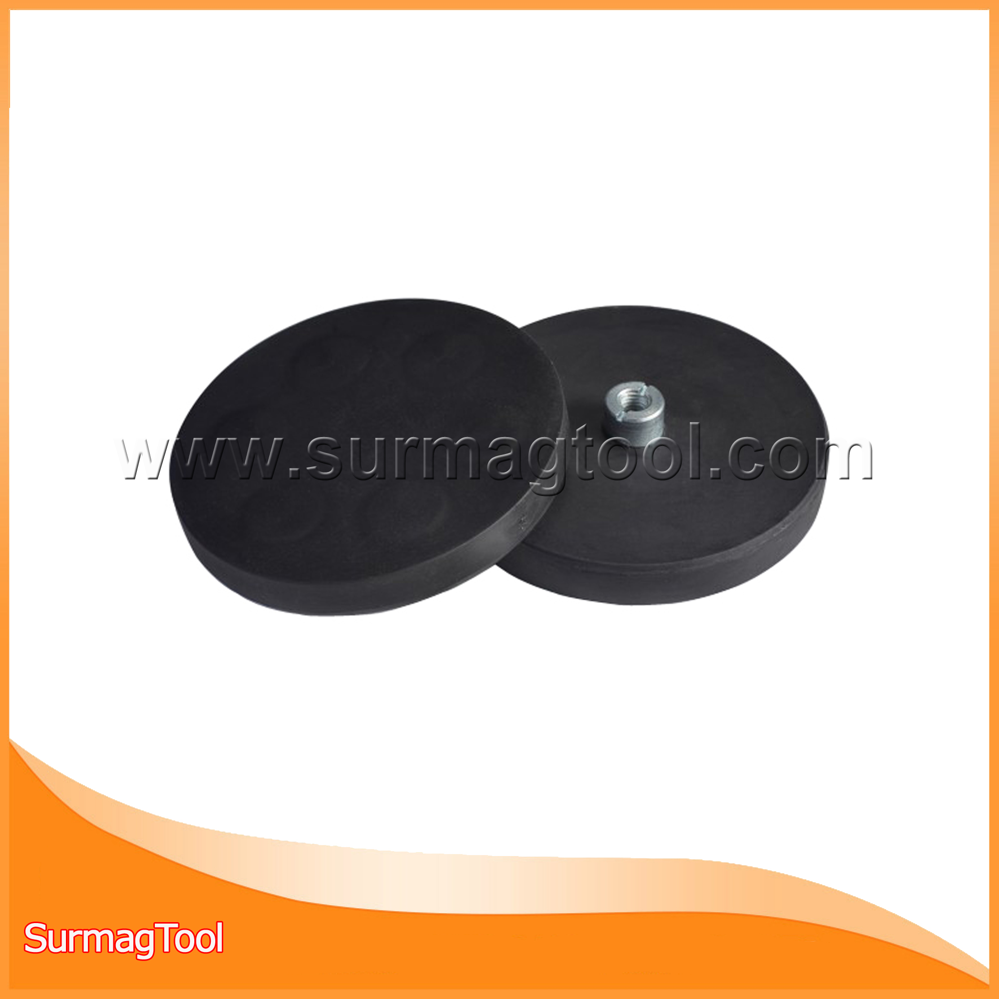 Neodymium pot magnet with rubber coated