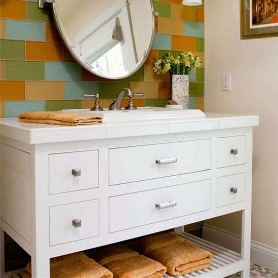 High-end Wooden Bathroom Vanities Cabinet with Marble Countertops
