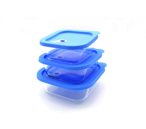Heat Resistant Square Glass Food Container With Lid