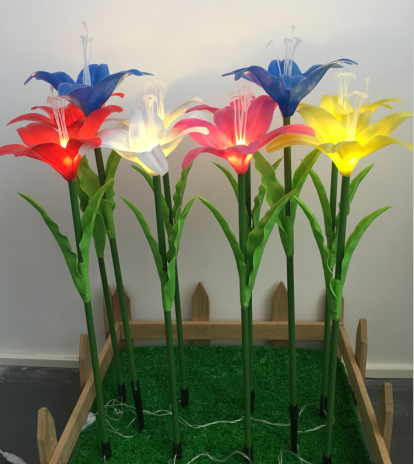 artificial lily with led light for lawn or grass