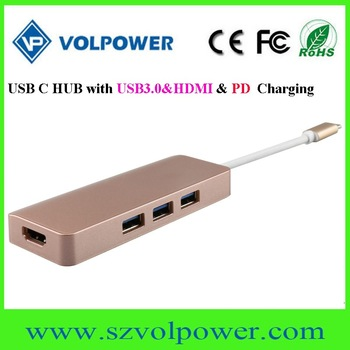 Fast speed newest best price usb 3.1 type c hub with pd charging function