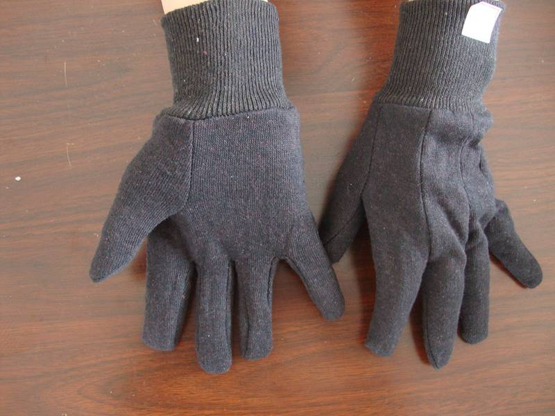 knit wrist protect hand Brown black jersey work glove