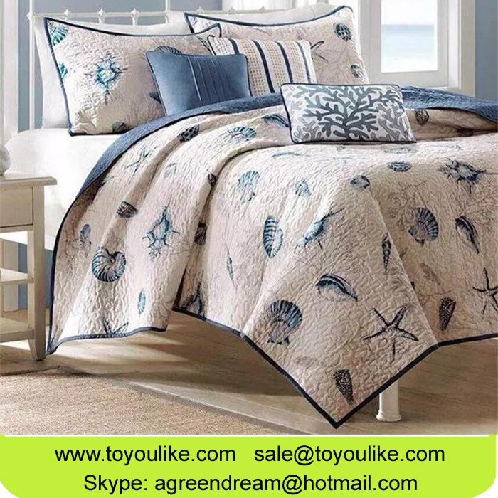 Pure Cotton Bedding Sets Ocean Shell Coral Printed Quilt 3 Piece Set Bedspread Duvet Cover Set Quilt