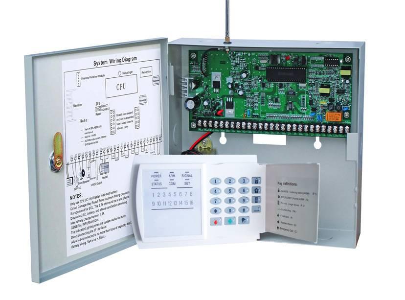 8 zone wired alarm system with 16 wireless zone