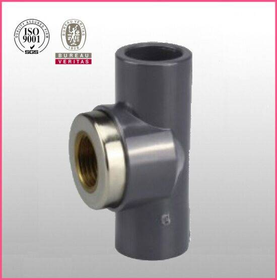 HJ brand UPVC ASTM D2467 SCH80 pipe fitting copper female thread tee