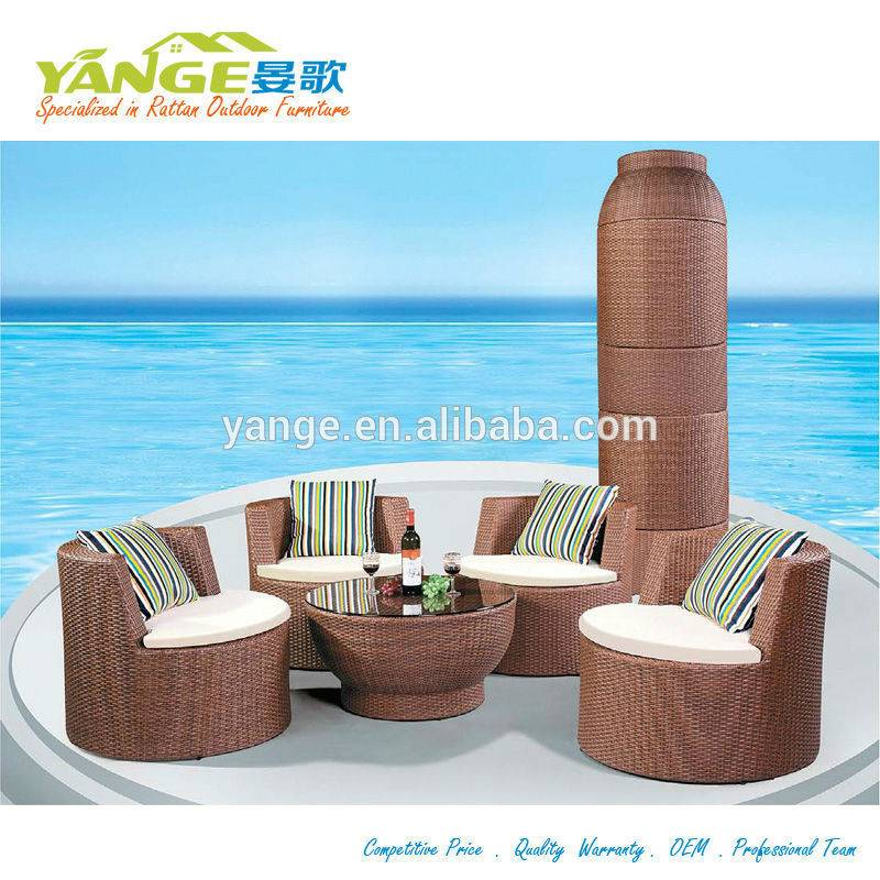 Rattan outdoor furniture patio wicker dining chair and table set