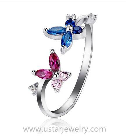 Wholesales Fashion Charm Silver Jewelry Silver Rings Flower Rings
