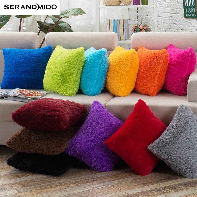 Pillow Case Solid Color Plush Cushion Cover Square Housse De Coussin Home Decorative Pillows Cover
