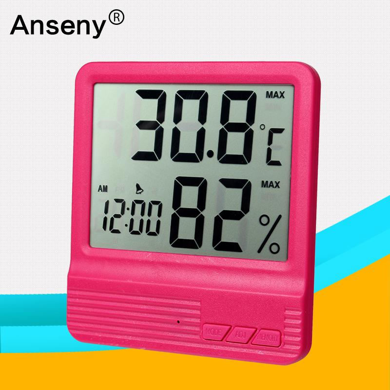 Clearly display LCD abs indoor/household electronic alarm temperature humidity meter