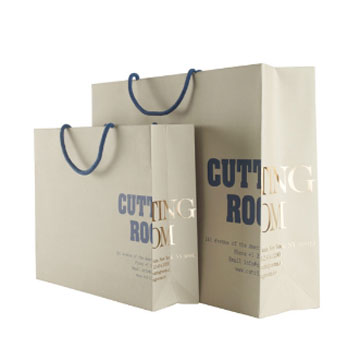 Paper gift bags with drawstring handle