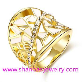 Gold Plated Costume Fashion Zircon Jewelry Women Rings