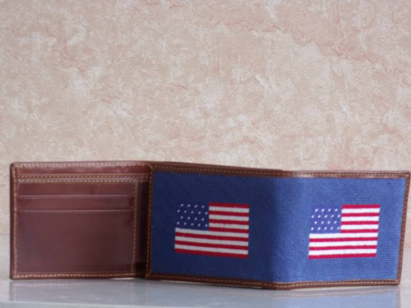 American Flag Needlepoint Full Wallet