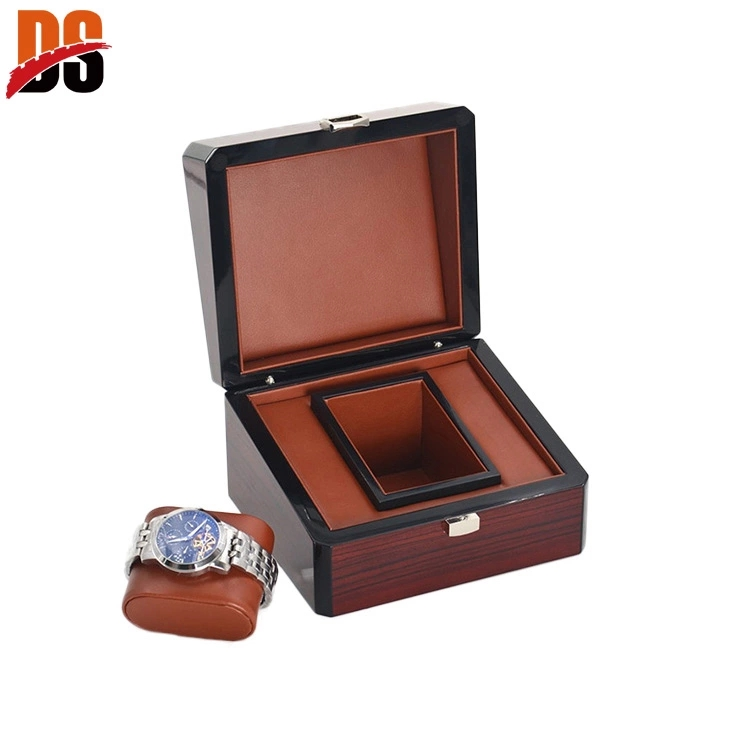 High quality wood veneer watch case for men with customer's name plate