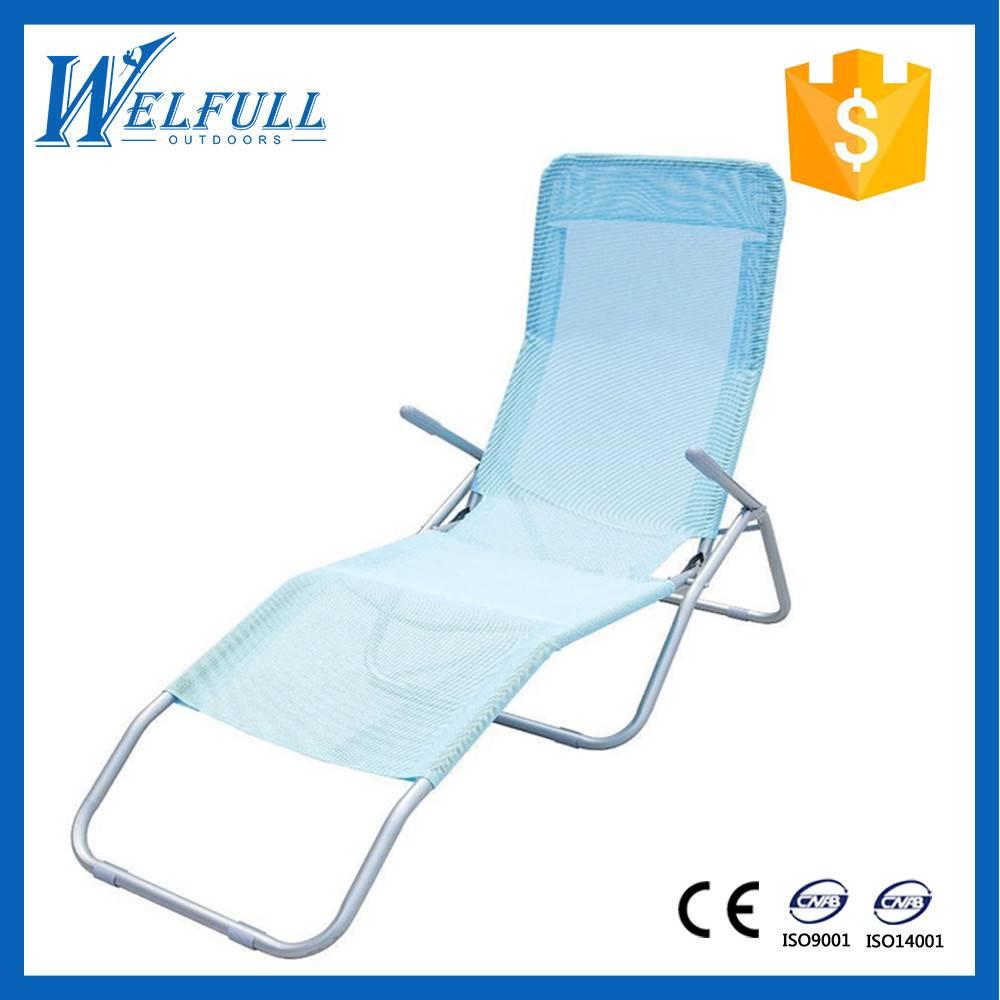 Outdoor Furniture Metal Iron 600D Folding Beach Chair, Beach Lounger
