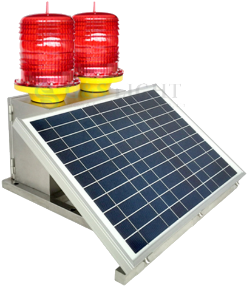 Medium-intensity Double Solar powered Aviation Obstruction Light