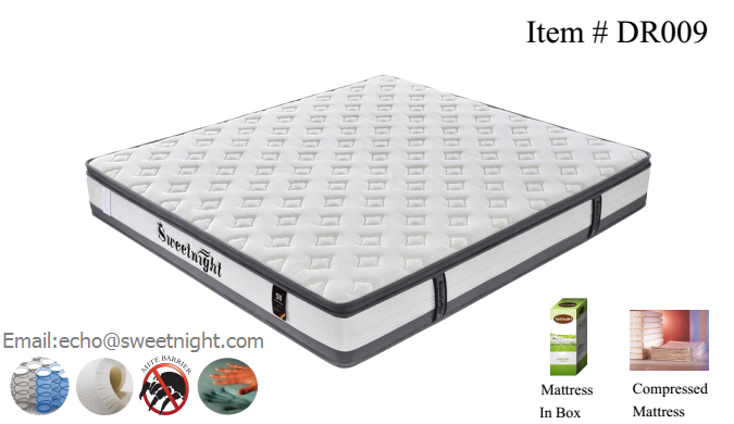 Comfortable Euro-top memeory foam pocket spring mattress, queen king size