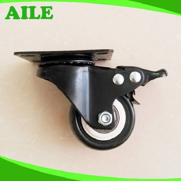50mm Swivel Light Duty Black PU Small Caster Wheels With Brake