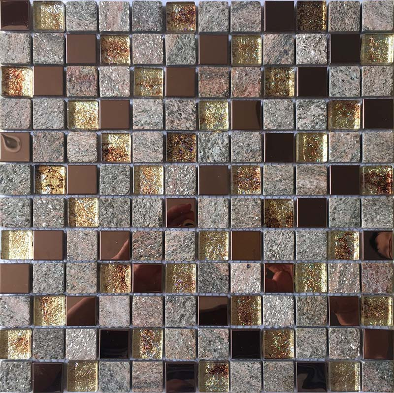 Natural Stone and Glass Mosaic Sheets Stainless Steel Backsplash Square Tiles Metal Tile Backsplash