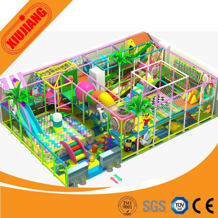 Factory direct sale small ball pool with wood big slides indoor playground set facility for home