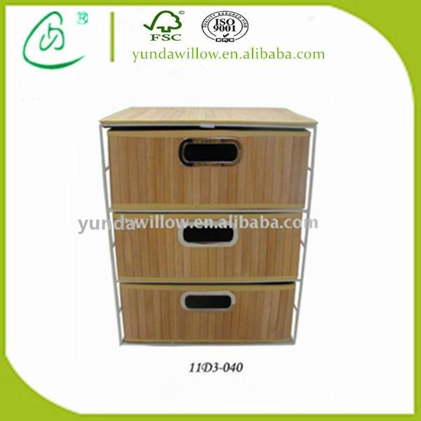 Wholesale Wood Wicker Display Storage Cabinet with 3-Drawers